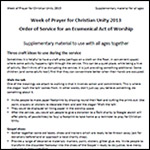 Week of Prayer for Christian Unity 2013 - All Age
