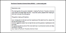Church Towards a Common Vision study guide