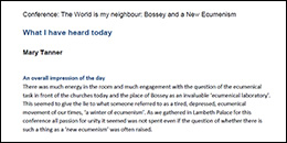 The World is my neighbour, Bossey and a New Ecumenism - Reflections by Mary Tanner