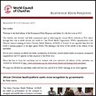 World Council of Churches Ebola Response newsletter