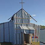 Church built within the refugee camp at Calais