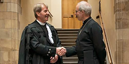 Right Rev Dr Russell Barr shakes hands with Archbishop of Canterbury the Most Rev Justin Welby