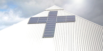 Cross made from solar panels