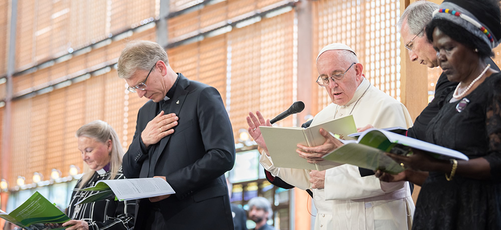 Pope Francis at World Council of Churches with Rev Dr Olav Fykse Tveit and others