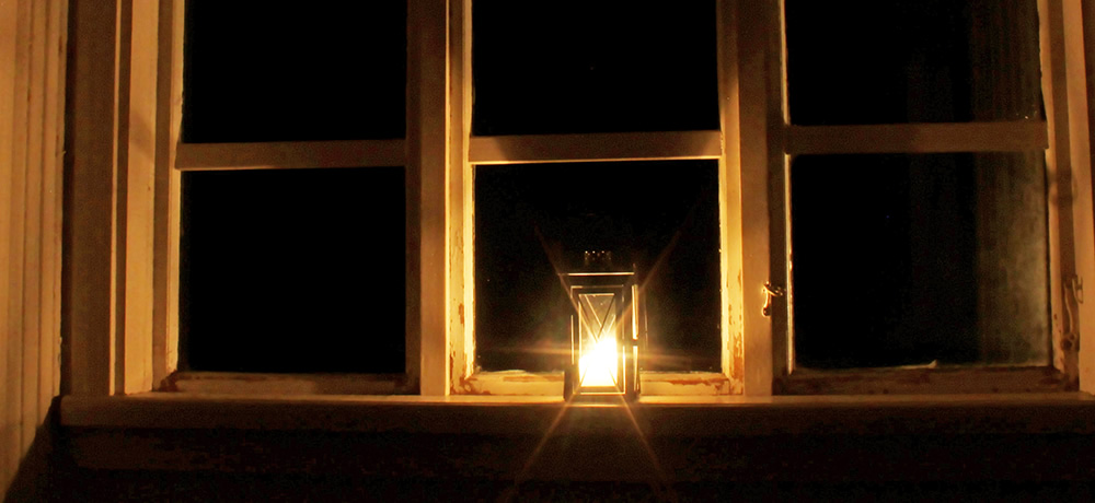 Candle in a window